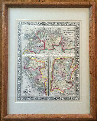 Antique 1860 Map NEW GRANADA VENEZUELA PERU ARGENTINE CONFED Augustus Mitchell