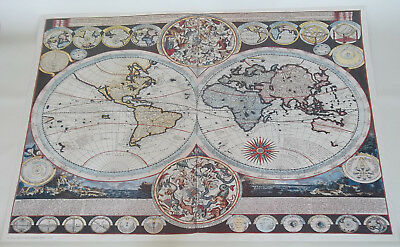 Large Printed Image of Old World Map by Adam Frirdrich Zurner c1710