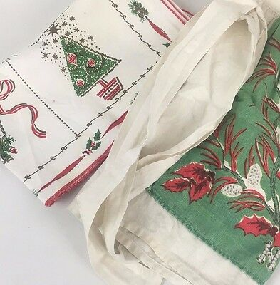 2Pc Lot Vintage Christmas Kitchen Linens Fabric Apron Table Runner 50s 60s Retro