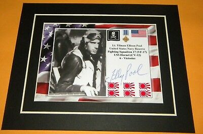Tilman Pool Navy Reserve Ace VF-17 Signed Display USS Hornet 6 Victories WWII