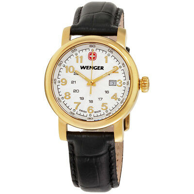 Wenger Urban Classic White Dial Leather Strap Ladies Watch 01.1021.109