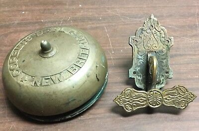 Antique Brass Door Bell Corbins New Britain, Complete W/ Lever Pull, Victorian