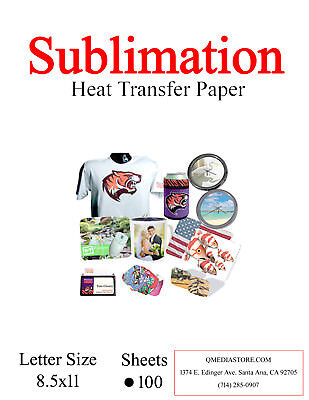 High Quality Dye Sublimation Transfer Paper 100 sheets.8.5x11