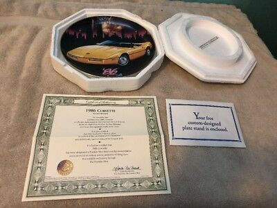 Franklin Mint 1986 Corvette Collectible Plate By Don Weiland