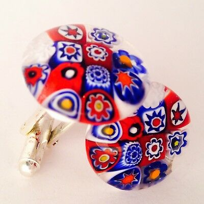 Red White & Blue Flower Glass & Silver Murano Millefiori Floral Cufflinks.