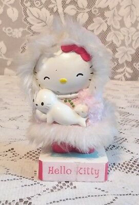 Sanrio Hello Kitty Eskimo with Baby Seal Pink Coat Rare Bobble Figure Doll Toy