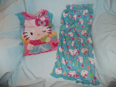 Girls Hello Kitty 2 pc pajama set size 5T--play con--blue, S/S, Hello Kitty/hear