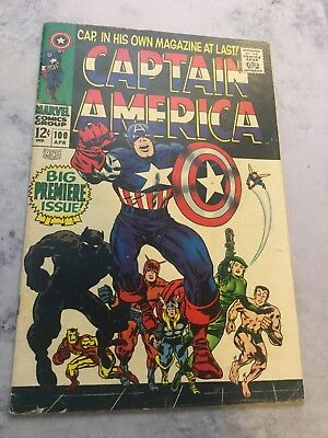 Captain America 100 VG+ F 1st Solo Cap Lee Kirby 1968
