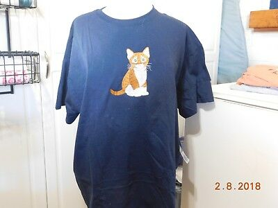 New  Orange Tabby Kittend Embroidered T-Shirt Add Name For Free