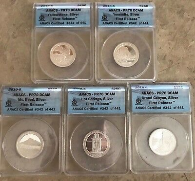 2010 S ANACS PR70 DCAM Silver Proof Quarter Set 1st Release 5 Coins .01 Start NR