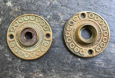 Antique Pair Vtg Ornate Victorian Door Knob Rosette Escutcheons Brass Bronze