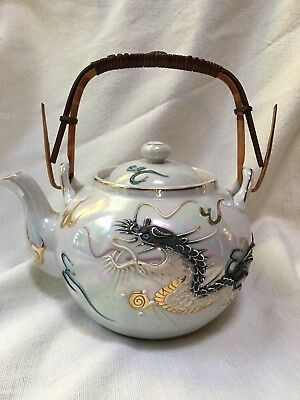 Vintage Dragonware Lusterware Hand Painted Tea Pot Epi-Curio 131 Ming Tea Japan