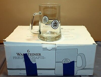 Set of 6 Warsteiner Rastal .5L Glass Beer Mugs in Original Case/Germany
