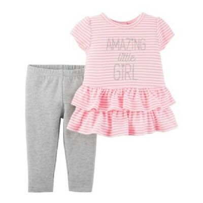 NWT Girl's Size 3-6 Mths Amazing Little Girl Ruffle Top & Leggings 2 pc Set NEW