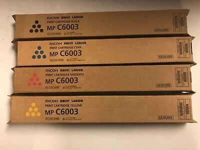 New Genuine Ricoh MP C6003 Toner Cartridges ALL 4 COLORS