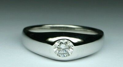 0.55 ct Men's Diamond GYPSY SOLITAIRE ring size 9.75 14kt w.gold No reserve  !