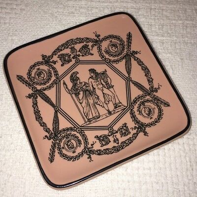 """Vintage PIERO FORNASETTI 4.5"""" Pink Square Plate Dish Made In Italy Milano"""