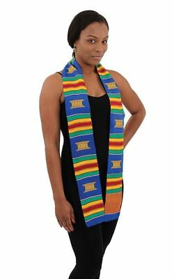 """African Hand Woven Kente Cotton Sash Scarf Made in Ghana. Size  66 X  4.5""""."""