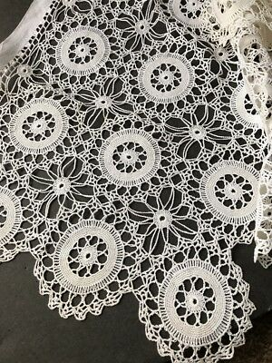 "VINTAGE NEEDLELACE AND EMBROIDERED  RUNNER?? 106"" By 13.5"""