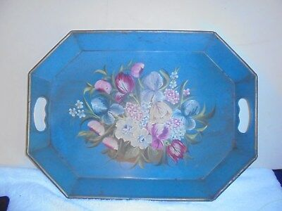 Antique vintage toleware towle painted serving tray robins egg blue floral