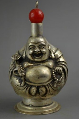Collection Chinese Old Tibet Silver Exquisite Snuff Bottle Carved Buddha
