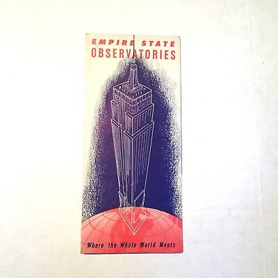 1960s Empire State Building Visitors Guide Poster Pamphlet Vintage New York Map