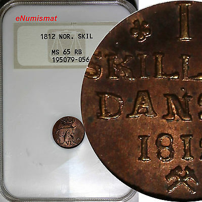 Norway Frederick VI Copper 1812 1 Skilling NGC MS65 RB High Grade SCARCE KM# 281