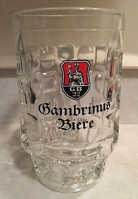 Vintage GAMBRINUS Biere Beer Glass Mug 0.5 Liter 1870-1970 Germany
