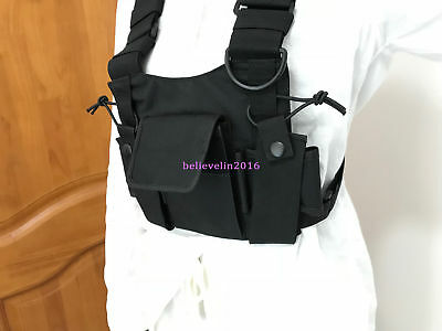 3 Pocket Chest Harness Bag Front Pack Pouch Holster Vest Rig For Walkie