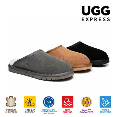 UGG Water Resistant Men Slippers Scuffs Bred - Suede Upper & Premium Wool
