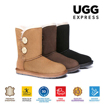 UGG Ladies Classic Short/Medium 2 Buttons Boots, Premium Australian Sheepskin