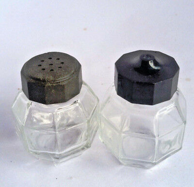 Vintage Salt and Pepper Shakers Bakelite Lid Plastic Lid Clear Depression Glass
