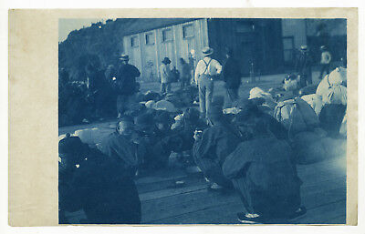 Rare Vintage Late 19th Century Cyanotype of Chinese Immigrant Labourers