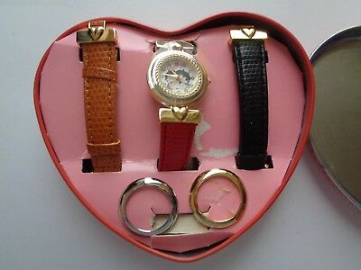 Vintage 1995 Betty Boop Watch Changing Bands and Face Rings Heart Tin Works