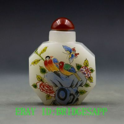 Antique Chinese Glass Hand-painted Bird &Peony Snuff Bottles  B62