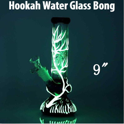 Glass Bong Hookah Smoking Glow In The Dark Water Pipe Luminous Shisha Glassware