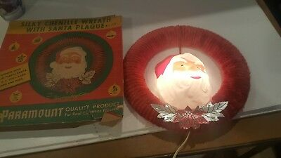 Vintage Paramount Silky Chenille Wreath With Santa Plaque