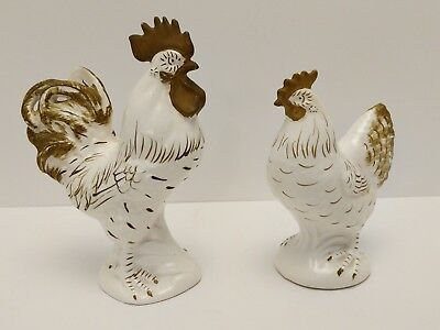 "Vintage Lefton Rooster & Hen Figurine dark gold AND WHITE 8.5"" and 7"" #1275"