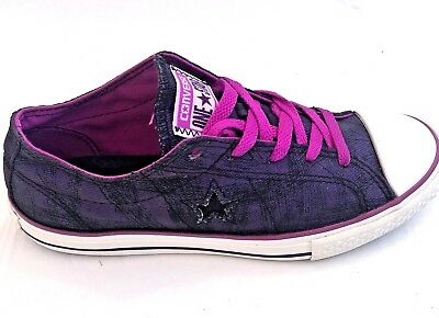 Converse One Star Women Size 7 Junior 5 Purple Black Canvas Low Top Sneaker Shoe