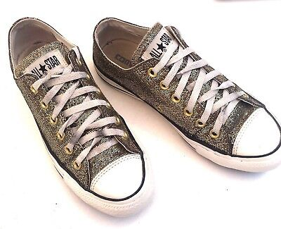 1f3df170a66c Converse All Star Womens Size 8 Gold Glitter Sparkle Low Top Shoes Sneakers-  EUC