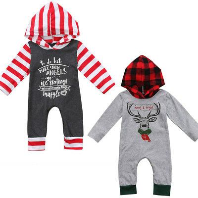 Cute Christmas Baby Girl Boy Long Sleeve Hooded Romper Outfit Costume One-piece