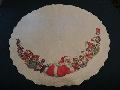 Vintage Merry Christmas TREE SKIRT SANTA CLAUS PLAYING WITH TOYS