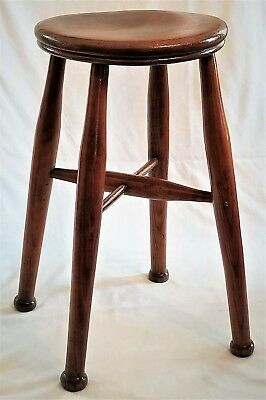 """Windsor stool, solid yew, shaped plank seat, English, c1800, 22""""t"""