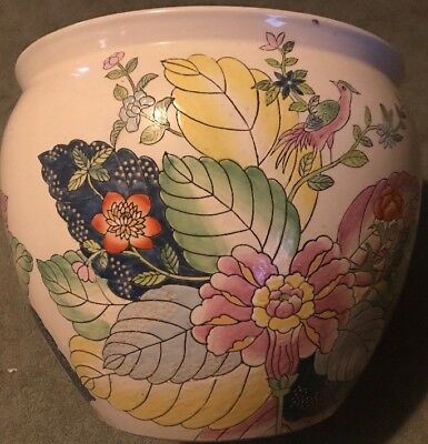 Beautiful Antique Chinese Asian Marked Pottery Porcelain Koi Fish Bowl