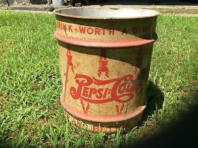 Antique Vintage Pepsi Steel Syrup Barrel