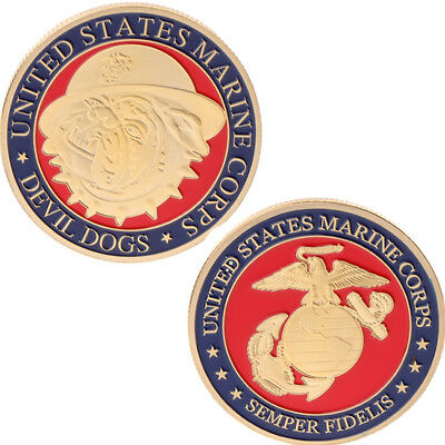 US American Marine Corps Devil Dogs Commemorative Coin Collection Arts Golden