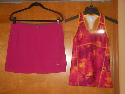 Set of 2 Women's Title Nine Fitness Skort Size 6 & The North Face Tank Top Sz S