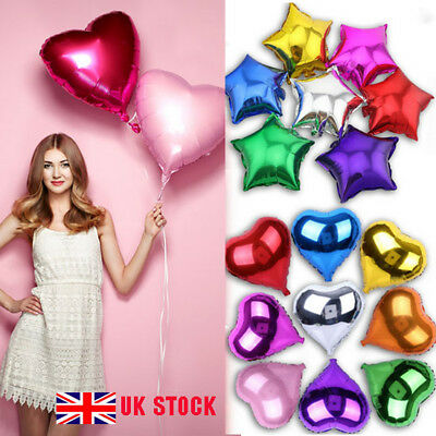 UK 5/10/20 Pcs Party Heart Star Shaped Baloons Foil Helium Balloons 10/18/32''
