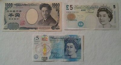 Two 5 British Pound notes and 1000 Japanese Yen (mixed lot)