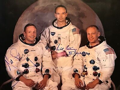 NEIL ARMSTRONG Autograph COA Astronaut COLLINS Signed Photo Display AUTO Genuine